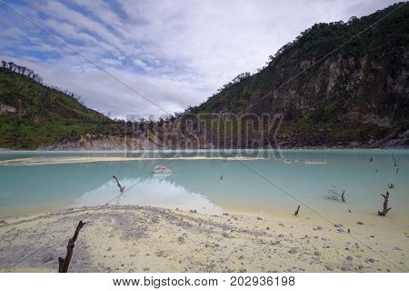 Kawah Putih - Ancient Volcanic Crater And Popular Touristic Destination In The Middle Of Java Island