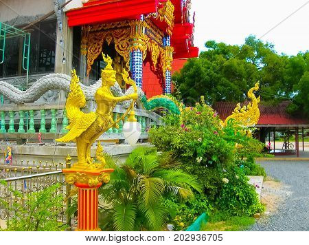 Buddhist pagoda, part of temple complex Wat Plai Laem on Samui island. Thailand, Koh Samui