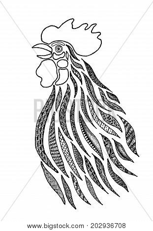 Stylized drawing of a rooster singing in the zentangle style. Zen art. Ornament. Drawn by hand.