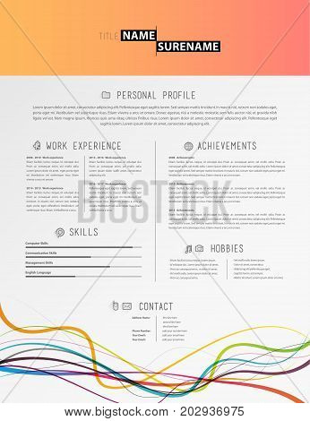 Creative simple cv template with colorful lines at the footer.
