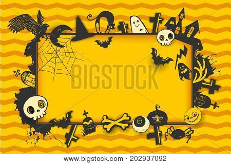 Happy Halloween horizontal banner with place for your greetings and sketch cartoon style horror characters. Vector illustration on yellow background. Pumpkin, skull, bird, bat, ghost, cat, grave