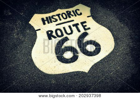 A Historic U.S. old Route 66 sign.