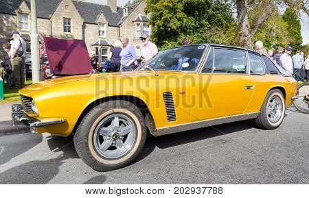 GRANTOWN ON SPEY, SCOTLAND - September 3 2017: Classic Jensen Interceptor at a Vintage Rally