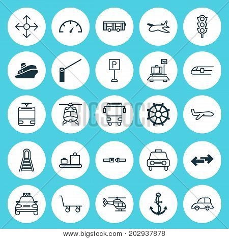 Vehicle Icons Set. Collection Of Roadsign, Baggage, Stoplight And Other Elements
