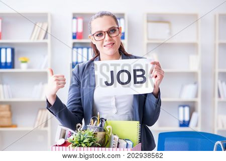 Businesswoman quitting her job in office