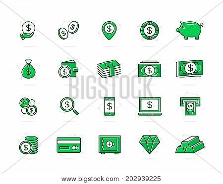 Set of vector bank and money colored line icons. Coin, cash, card, credit, atm, diamont, wallet, gold, deposit, purse, piggy, diamond, dollar, bag and more. Editable Stroke.
