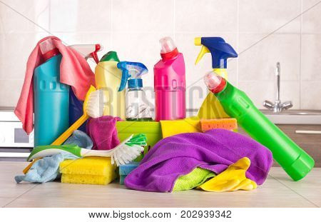 Cleaning Products On Kitchen Table
