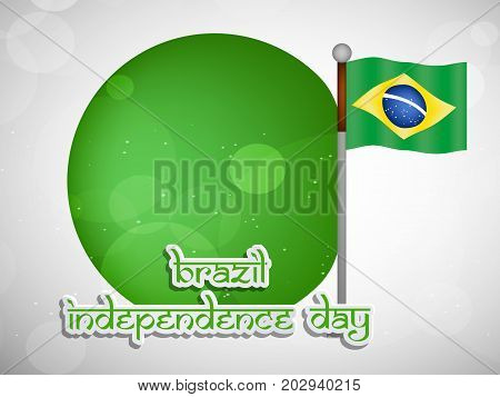 illustration of button and Brazil flag  with Happy Independence Day text on the occasion of Brazil Independence Day