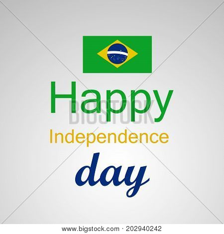 illustration of Brazil flag and Happy Independence Day text on the occasion of Brazil Independence Day