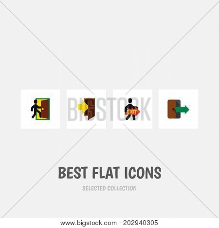 Flat Icon Emergency Set Of Entry, Directional, Exit And Other Vector Objects