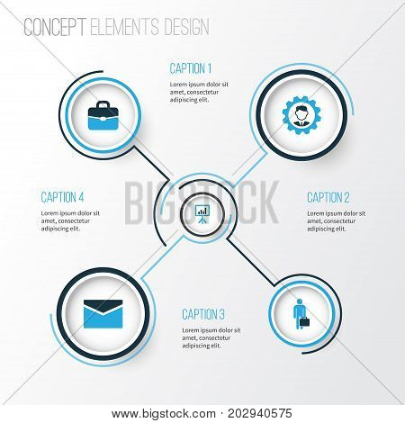 Business Colorful Icons Set. Collection Of Portfolio, Businessman, Manager And Other Elements