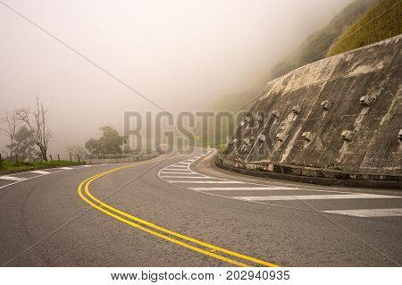 fog on a high altitude road in Colombia