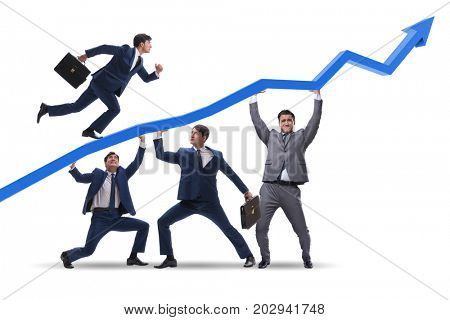 Businessmen supporting economic growth isolated on white
