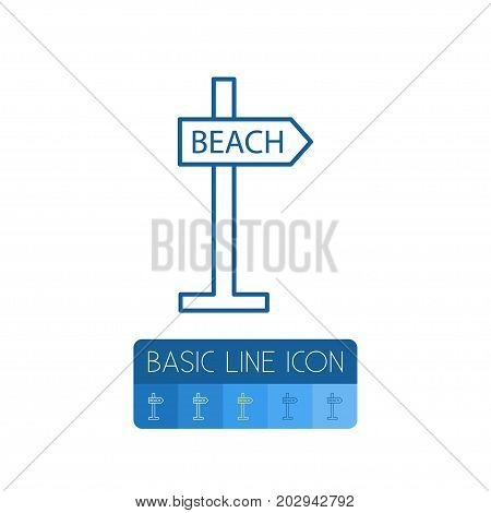 Signpost Vector Element Can Be Used For Beach, Signpost, Directional Design Concept.  Isolated Beach Outline.