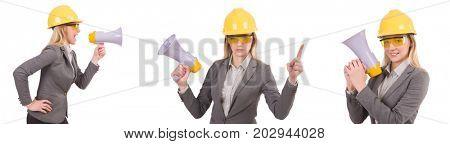Female engineer in helmet with loudspeaker isolated on white