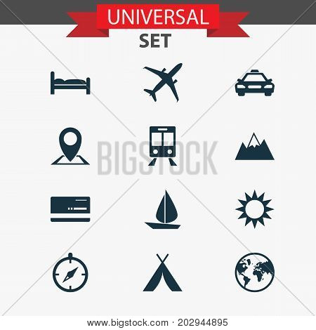 Journey Icons Set. Collection Of Railway Carriage, Guide, Booth And Other Elements