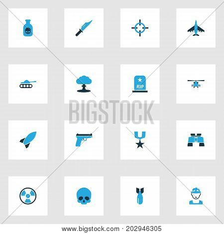 Battle Colorful Icons Set. Collection Of Binoculars, Poison, Soldier And Other Elements