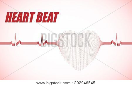 Heart beat vector illustration.  Blending lines effect.