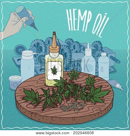 Plastic Oil Can of Hemp seed oil and leaves and seeds of Cannabis sativa plant. Hand lubrication mechanism. Natural vegetable oil used as grease lubricant