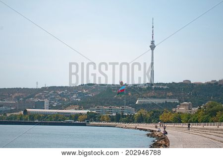 Seaside walking boulevard in Baku, Azerbaijan. Baku is a capital and largest city of Azerbaijan.