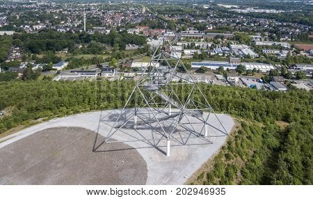 Aerial view of Tetraeder on the former mine dump in Bottrop, Germany