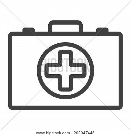 First aid kit box line icon, medicine and healthcare, medical case sign vector graphics, a linear pattern on a white background, eps 10.