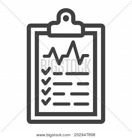 Medical clipboard line icon, medicine and healthcare, document sign vector graphics, a linear pattern on a white background, eps 10.