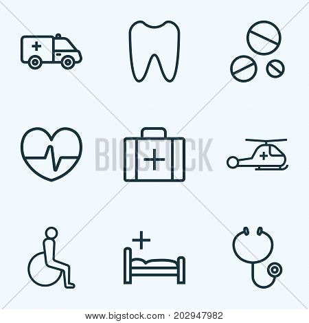 Antibiotic Outline Icons Set. Collection Of Copter , Bed , Handicapped Elements