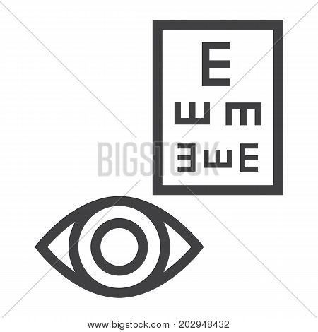 Optometry line icon, medicine and healthcare, eye sign vector graphics, a linear pattern on a white background, eps 10.