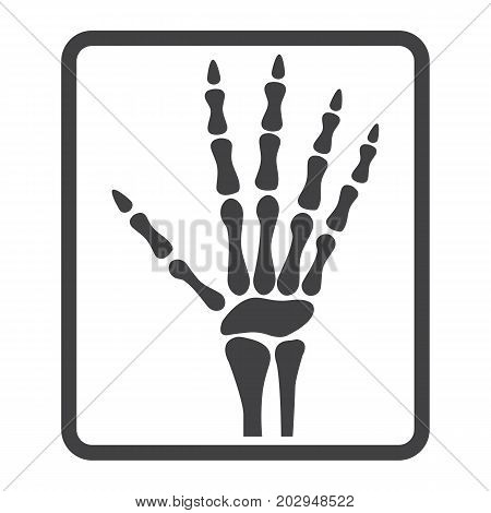 Hand X-ray line icon, medicine and healthcare, radiology sign vector graphics, a linear pattern on a white background, eps 10.
