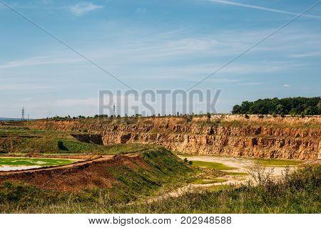 limestone mining in a quarry, industrial landscape