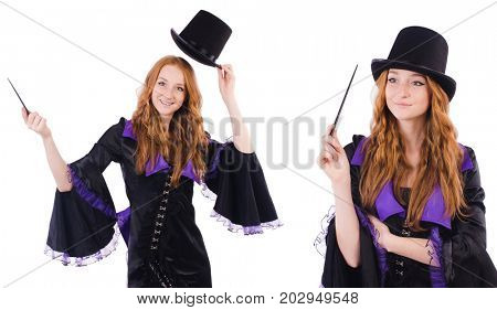 Woman magician isolated on the white