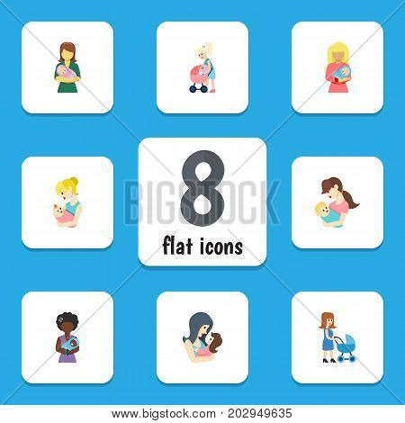 Flat Icon Mam Set Of Parent, Mam, Perambulator And Other Vector Objects