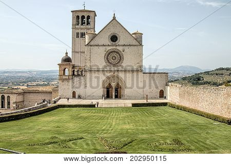 Assisi Italy - 31 August 2017: View of the Papal Basilica of St. Francis of Assisi