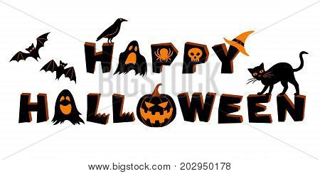 Happy Halloween lettering. Text and vector elements: bats crow pumpkin jack o'lantern ghosts spider skull black cat and witch's hat. Vector illustration isolated on white background