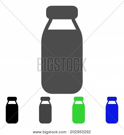 Bottle icon. Vector illustration style is a flat iconic bottle symbol with black, grey, green, blue color versions. Designed for web and software interfaces.
