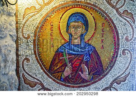 Ostrog Montenegro - September 4 2017: mosaic on the wall of the monastery Ostrog in Montenegro