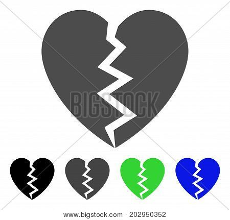 Broken Heart icon. Vector illustration style is a flat iconic broken heart symbol with black, gray, green, blue color versions. Designed for web and software interfaces.