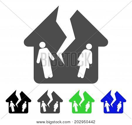 Divorce House icon. Vector illustration style is a flat iconic divorce house symbol with black, gray, green, blue color versions. Designed for web and software interfaces.