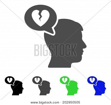 Divorce Thinking Man icon. Vector illustration style is a flat iconic divorce thinking man symbol with black, gray, green, blue color versions. Designed for web and software interfaces.