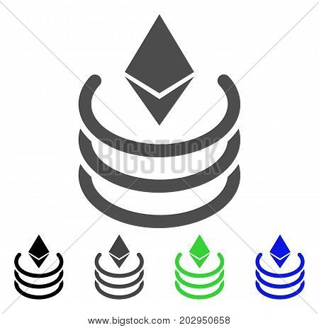 Ethereum Portal icon. Vector illustration style is a flat iconic ethereum portal symbol with black, gray, green, blue color variants. Designed for web and software interfaces.