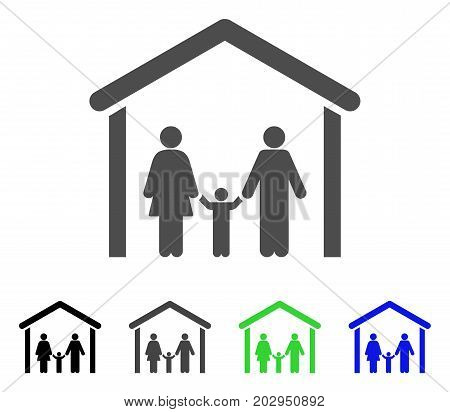 Family Cabin icon. Vector illustration style is a flat iconic family cabin symbol with black, grey, green, blue color variants. Designed for web and software interfaces.