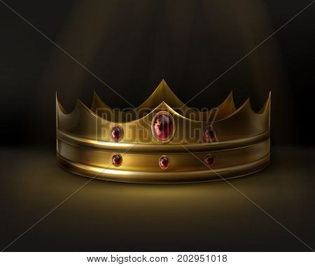 Vector royal golden crown with red gemstone isolated on dark background