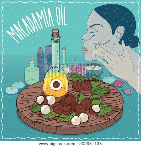 Glass Decanter of Macadamia oil and Macadamia nuts. Girl applying facial mask on face. Natural vegetable oil used for skin care