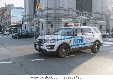 Nypd New York Police Department Vehicle On The Street