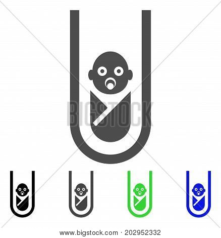 In Vitro Baby icon. Vector illustration style is a flat iconic in vitro baby symbol with black, grey, green, blue color variants. Designed for web and software interfaces.