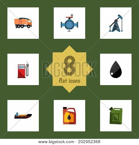 Flat Icon Petrol Set Of Fuel Canister, Van, Jerrycan And Other Vector Objects