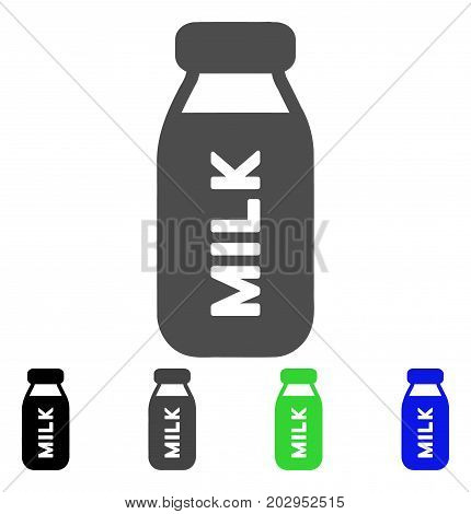 Milk Bottle icon. Vector illustration style is a flat iconic milk bottle symbol with black, grey, green, blue color variants. Designed for web and software interfaces.