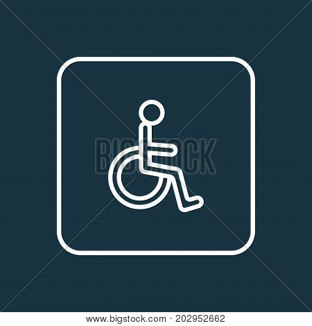 Premium Quality Isolated Disabled Person Element In Trendy Style.  Handicapped Man Outline Symbol.
