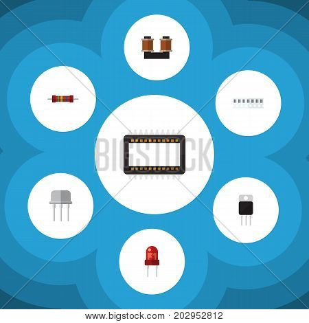 Flat Icon Electronics Set Of Memory, Coil Copper, Resistance And Other Vector Objects